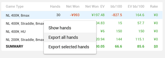 Export hands from Reports