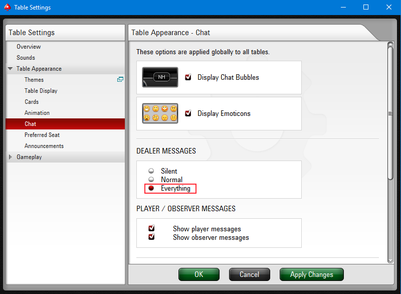PokerStars chat settings