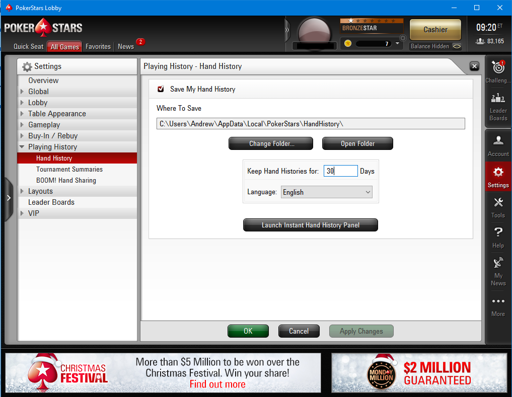 PokerStars hand history settings